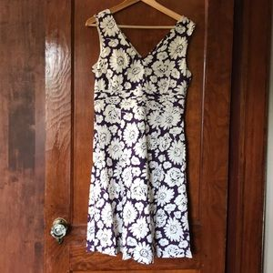 Floral cotton dress in purple and white